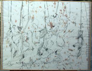Squirels 2 - crayon, acrylique, papier - Norbert Hillaire, 2007