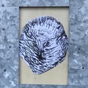 Autoportrait en hérisson, encre sur papier découpé ( 2010)