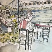Tableau de la Série Distractions 4 - Sans titre, aquarelle, dessin à la plume ( 1988)