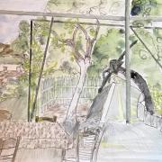 Distractions 9 - Paysage, aquarelle et dessin ( 1988)