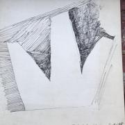 Série Distractions 6 - Flèches/plans/coups, dessin à l'encre (1988)