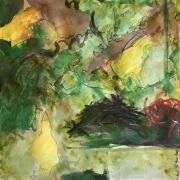 3 oiseaux avec paysage japonais, gouache et aquarelle, 2007