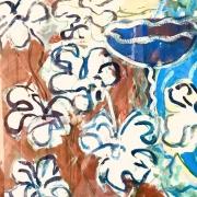Série Maroc - Coupe et fleurs, gouache sur papier, 1986